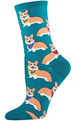 Socksmith Women's Corgi Socks in Emerald (One size fits most: Sock size 9-11 will fit a women's shoe size 6-10)