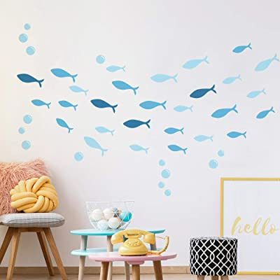 Blue Dolphin Decal for Walls Bedroom Window Glass Door Easy Peel and Stick Fish Wall Stickers for Kids: Arts, Crafts & Sewing