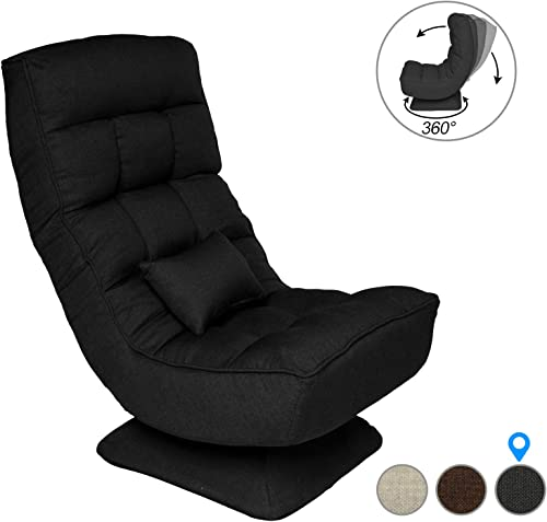 360 Degree Swivel Gaming Chair,Folding Floor Chair,Lazy Sofa Chair, Video Game Chair for Home, Office Games Room Cool Black