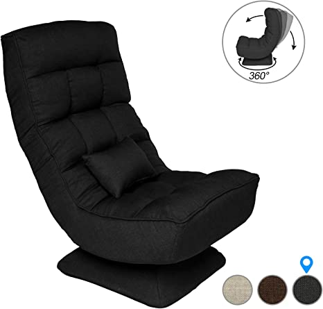 360 Degree Swivel Gaming Chair Folding Floor Chair Lazy Sofa Chair Video Game Chair For Home Office Games Room Cool Black Kitchen Dining