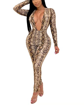 9f055b08fd7 Womens Sexy Jumpsuits Romper - Long Sleeve Deep V Neck Snake Skin Floral Bodycon  Pants Set