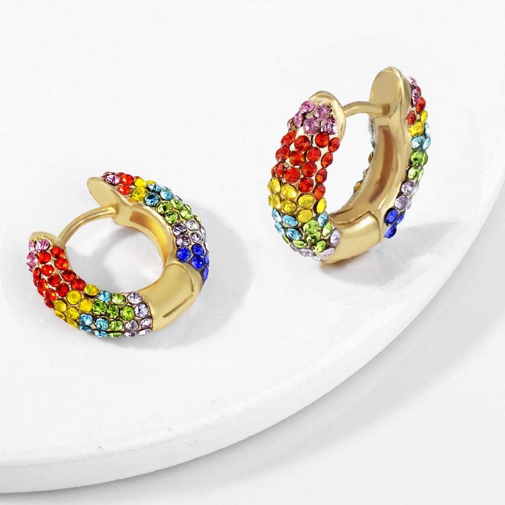 14K Yellow Gold Multi Color or Rainbow Color Cube Crystal Stud Earrings Ioka