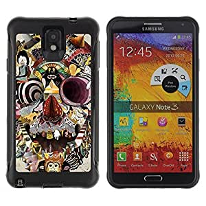Be-Star Unique Pattern Anti-Skid Hybrid Impact Shockproof Case Cover For SAMSUNG Galaxy Note 3 III / N9000 / N9005 ( Abstract Skull Painting Modern Art ) Kimberly Kurzendoerfer