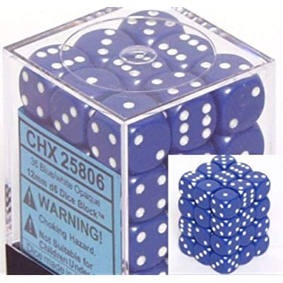 Chessex Dice D6 Sets: Opaque Blue with White - 12Mm Six Sided Die (36) Block of Dice: Toys & Games