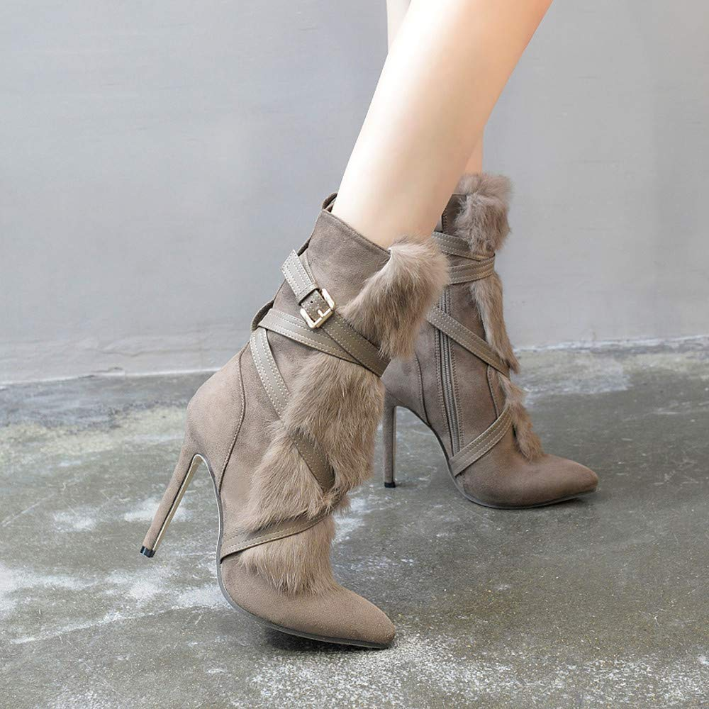 Logobeing Botines Mujer Invierno Planos Tacon Ancho Zapatos Plataforma Botas de Mujer Calzado Zapato Correa Correa Hebilla Botas de Tacón Alto Martin Botas: ...