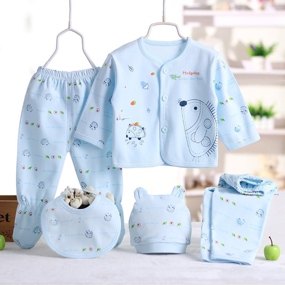 6269ff863 5 Pcs Unisex Newborn Baby Clothes Set Cotton Long Sleeve Coat Top ...