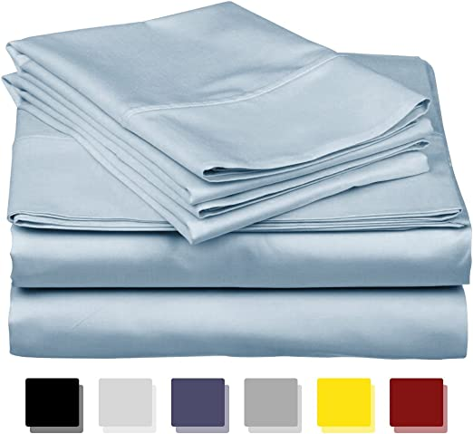 600 Thread Count Satin Silk New Sky Blue Solid Choose US Size /& Bedding Item