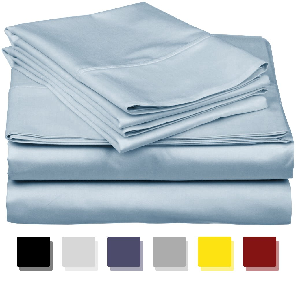 True Luxury 1000-Thread-Count 100% Egyptian Cotton Bed Sheets, 4-Pc Queen Light Blue Sheet Set, Single Ply Long-Staple Yarns, Sateen Weave, Fits Mattress Upto 18'' Deep Pocket