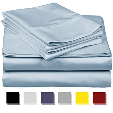 600-Thread-Count Best 100% Egyptian Cotton Sheets & Pillowcases Set-4 Pc Light Blue Long-staple Combed Cotton Bedding Full Sheet For Bed, Fits Mattress Upto 18'' Deep Pocket, Soft & Silky Sateen Weave