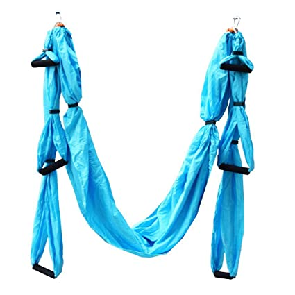 Medium image of stylrtop parachute fabric swing inversion therapy anti gravity aerial yoga hammock  azure