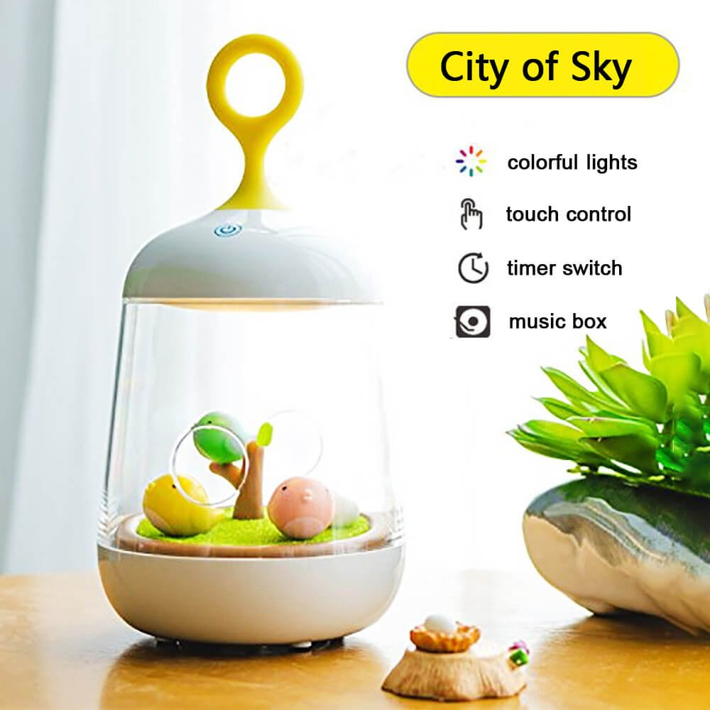 Micro Landscape Night Light Denshine Night Light, Night Light for Kids Micro Landscape Night Light with Music Box Night Lamp with 7 Color Changing Modes Best Gifts for Kids (White)