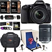 Canon EOS 80D Digital SLR Camera EF-S 18-135mm Image Stabilization USM Lens + Polaroid Photo Studio Light Tent Kit + .43x Super Wide Angle & 2.2X HD Telephoto Lens + 2X Memory Cards + Accessory Bundle Key Pieces Review Image