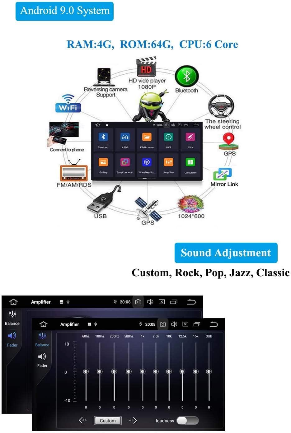 XISEDO 9 Pulgadas Android 9.0 Autoradio 6-Core RAM 4G ROM 64G In Dash Radio de Coche Navegaci/ón para Porsche Cayenne Autoradio 2003-2010
