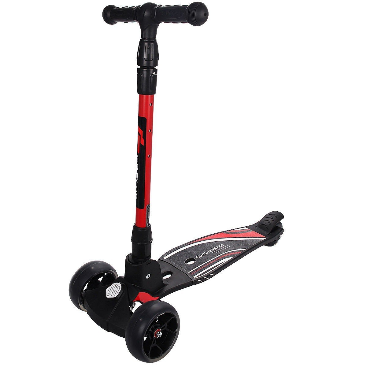 Folding Aluminum Adjustable Height LED 3 Wheels T-Bar Kick Scooter - Red
