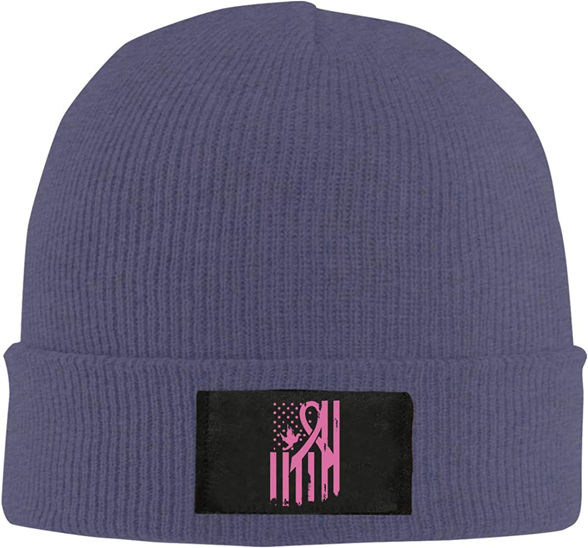 Breast Cancer Awareness USA Flag Unisex Knitted Hat Stretchy Fleece Beanie Hat
