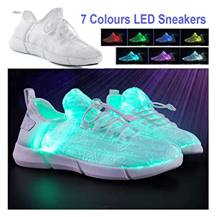 cb52c146ec Amazon.com: Baskets mode 7 Colours LED Women Luminous Sneakers ...