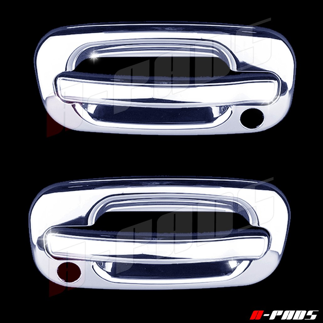 A-PADS 2 Chrome Door Handle Covers for Chevy TAHOE / SILVERADO /SUBURBAN 2000-2006 & GMC SIERRA 1999-2006 / YUKON 00-06 - WITH Passenger Keyhole