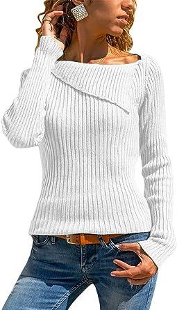 Femme Tricoté Pull Décontracté Chandail Haut Couleur Unie Col Roulé Sweater FR