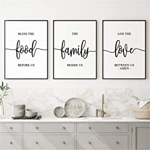 Canvas Wall Art 3 Piece Bless The Food Before Us Sign Poster Prints Painting Modular Verse Pictures Framed Artwork for Kitchen Dining Room Decoration Inner Frame Ready to Hang