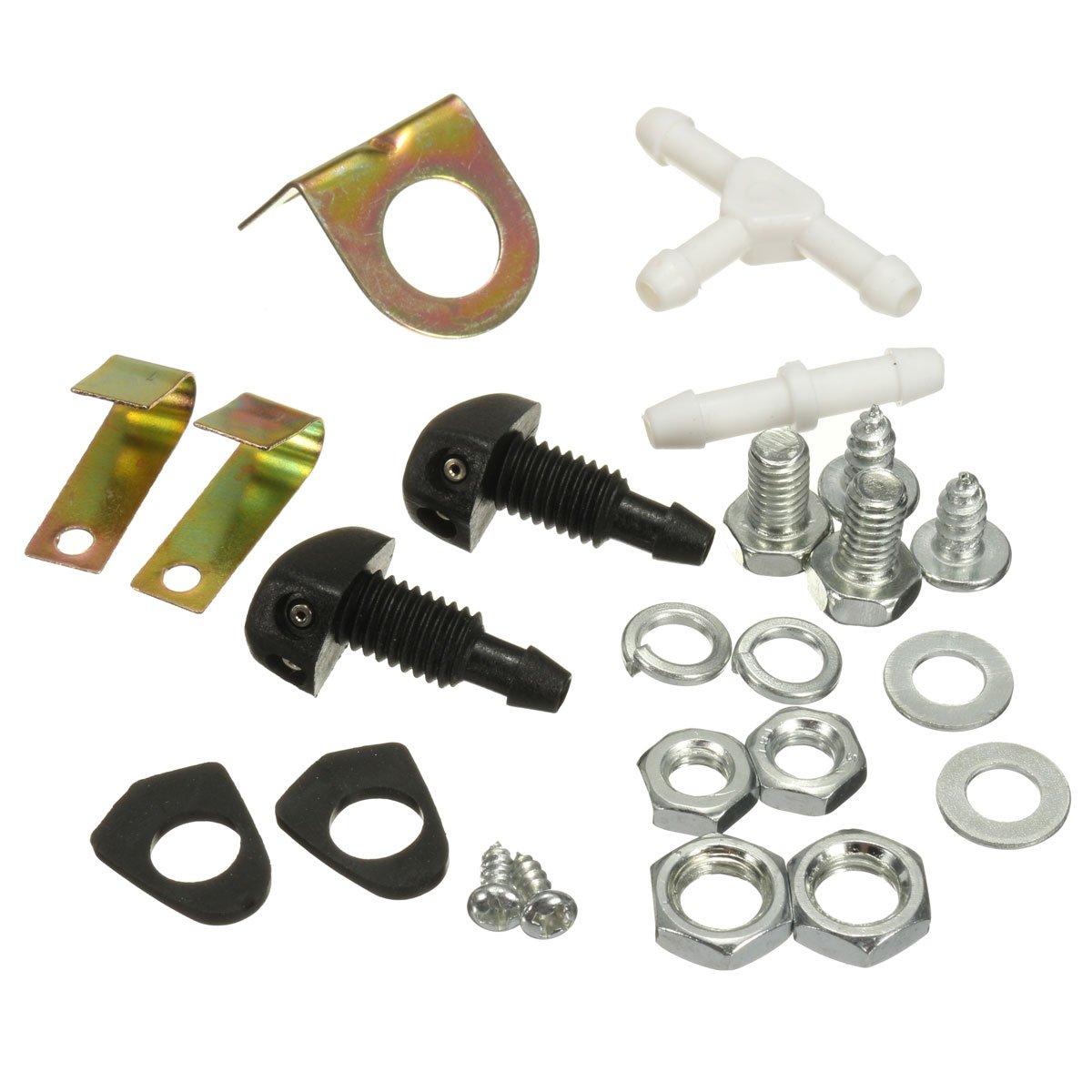 Audew 12v Universal Car Windshield Washer Pump Ls1 Diy Wiring Harness Kit Bottle System With Jet Button Switch 160186 Automotive