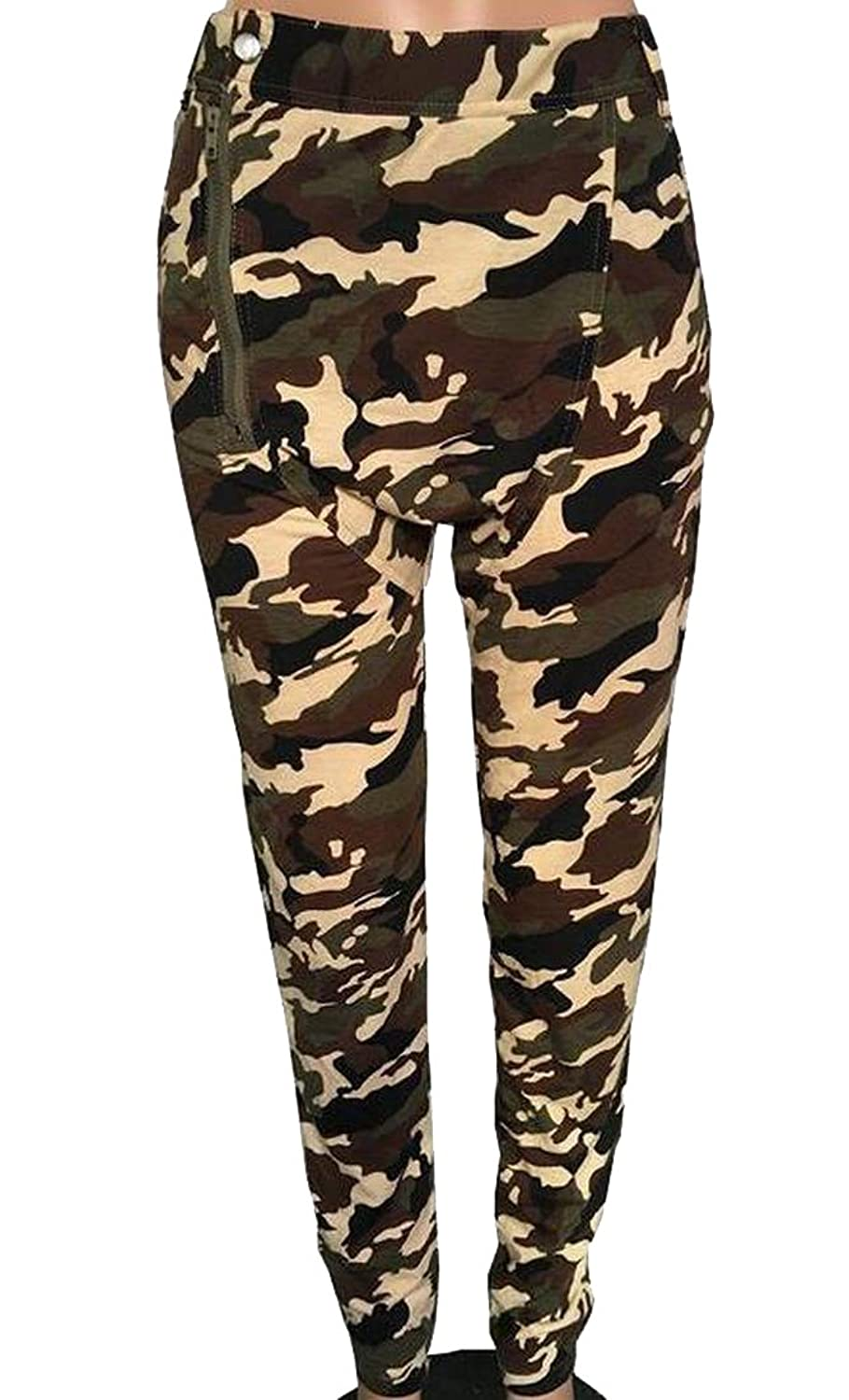HMX Womens Zipper Detail Slim Fit Camouflage Casual Pants