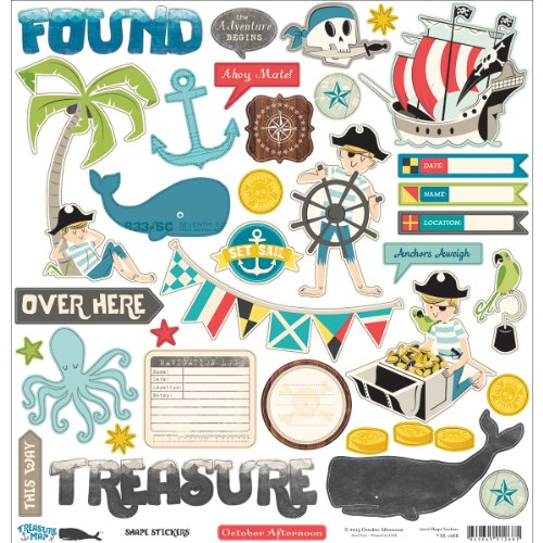 Cardstock Treasures - October Afternoon Treasure Map Shape Cardstock Stickers, 12