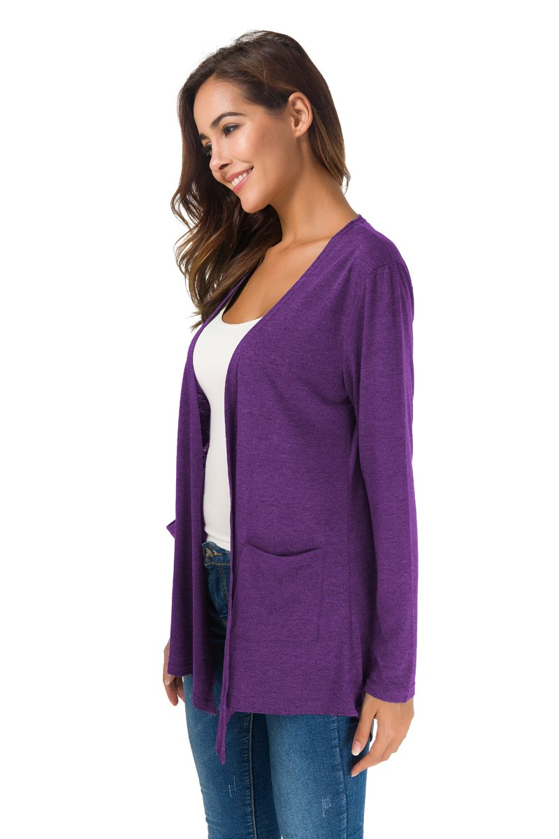 TownCat Women's Loose Casual Long Sleeved Open Front Breathable Cardigans with Pocket (Purple1, L) by TownCat (Image #4)