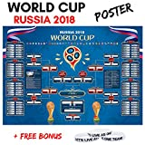 #7: World Cup Russia 2018 Wall Chart [Soccer Calendar] 18 x 24 inch #100 Premium Matte Cover + Bonus Rubber Wristband | Tournament INFO, Group Phase - Knockout Phase | Sports Wall Decor Poster