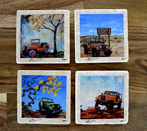 Fine Art Coasters, set of 4 Jeeps, drink coaster, travertine, stone, jeep, willys, CJ, distressed, car, truck, fathers day, gift, man, men, present
