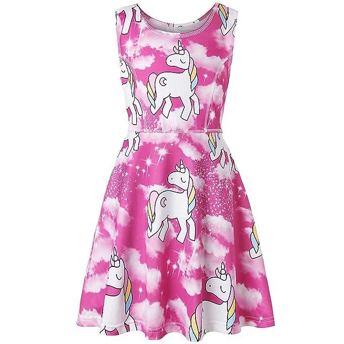 Amazon.com: Vestido de unicornio para niñas, sin mangas ...