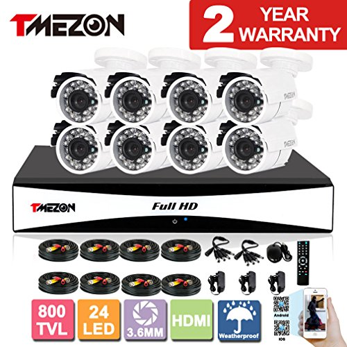 TMEZON 8CH Channel 960H HDMI Output DVR P2P Recorder 800TVL Cameras Outdoor CCTV Surveillance Security System 3G Remote Mobile Access iPhone Android View