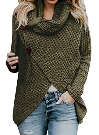 ASKSA Pulli Damen Pullover Sweatshirt Asymmetrische Strickpullover  Rollkragenpullover Solid Sweater Warm Strickjacken Tops Bluse (Grün d576df7121