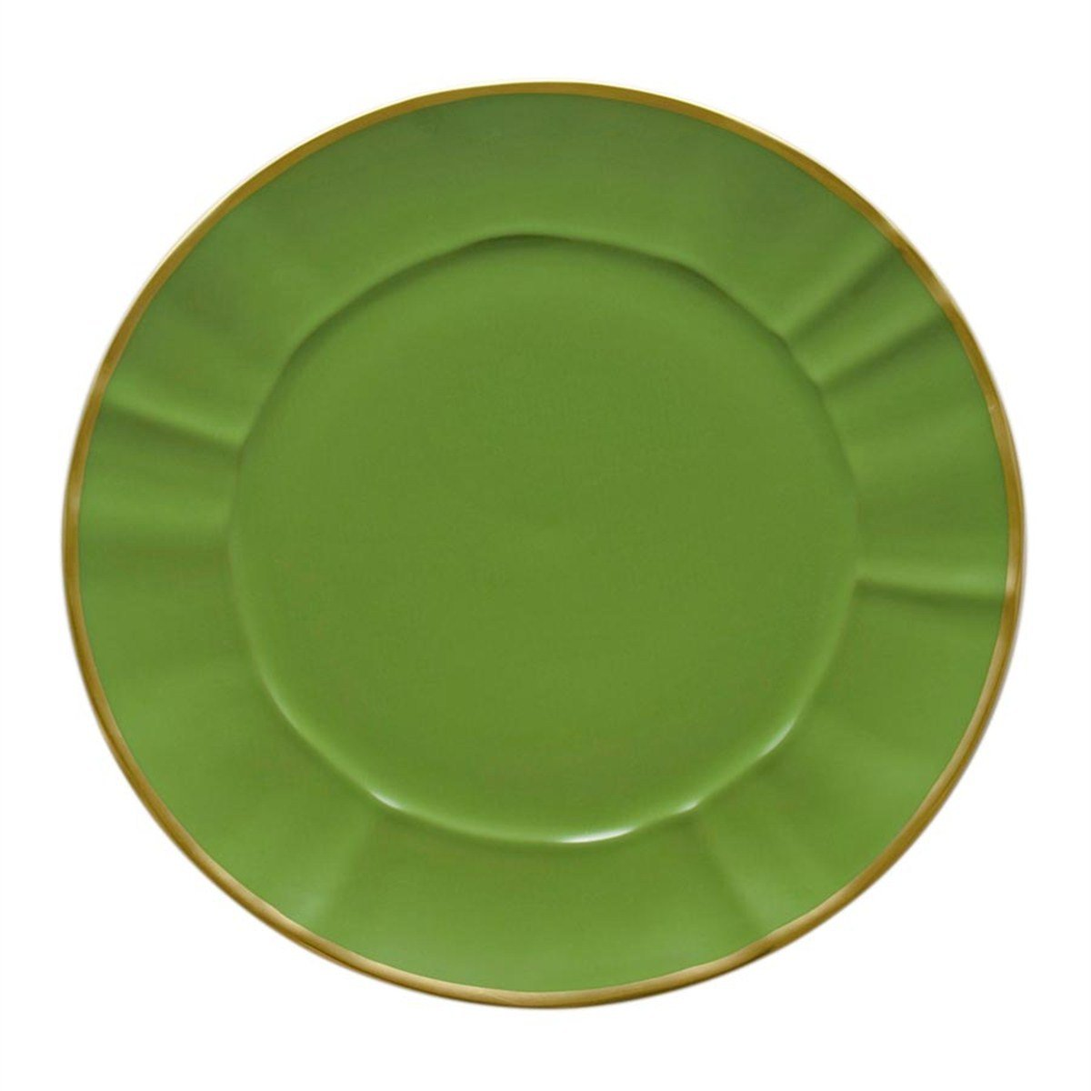 Anna Weatherly Charger Plate Green with Gold Band