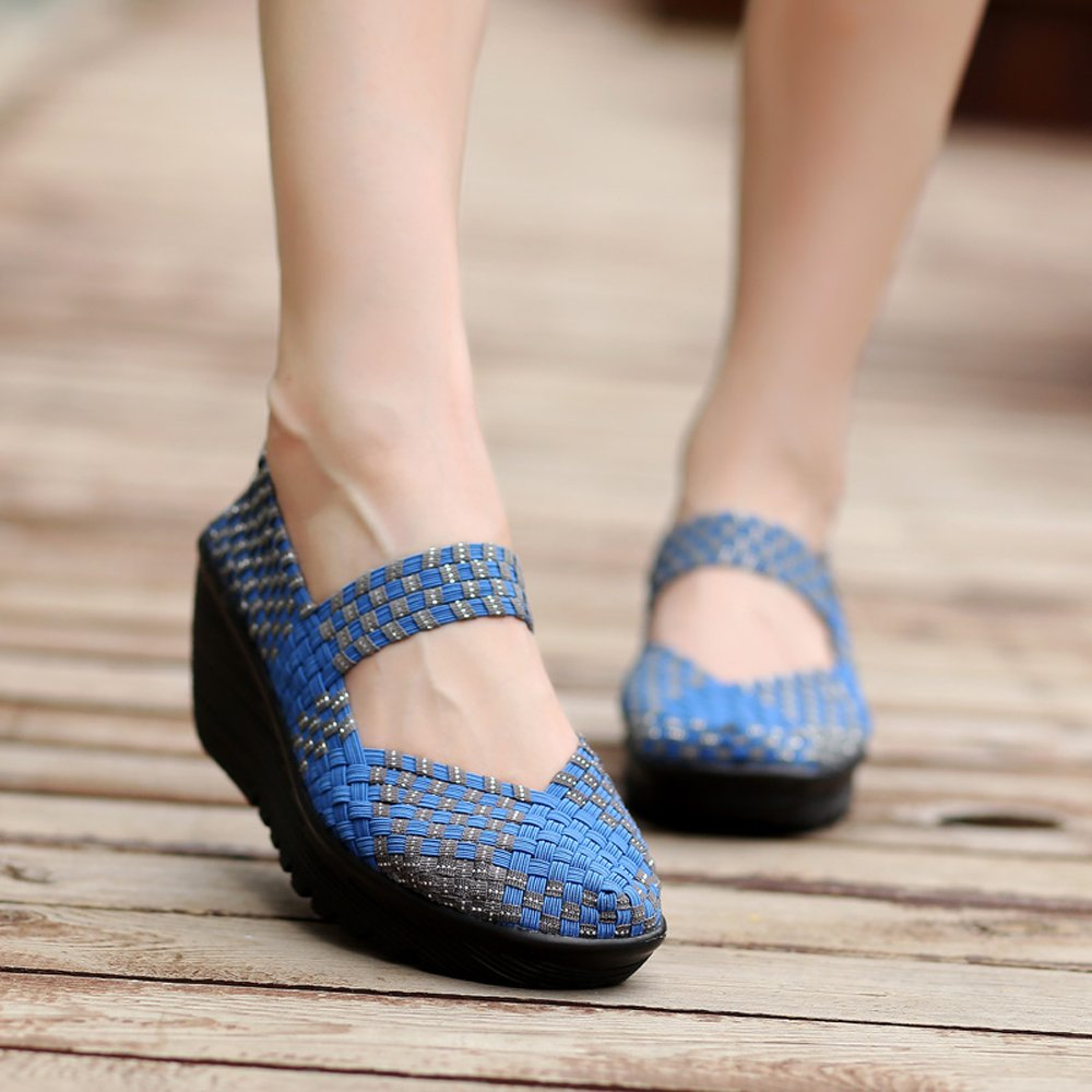 8aa988c6ccc8 Enllerviid Women Wedge Mary Jane Sandals Closed Toe Weave Platform Heel  Sandals Shoes SDF-889