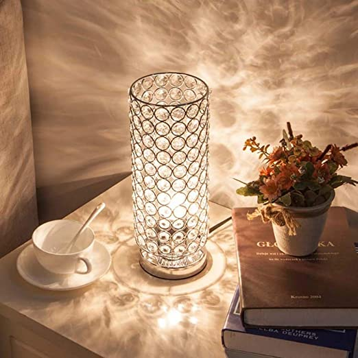 AJJA Lámpara De Mesa De Cristal, Dormitorio Mesita De Luz De La ...