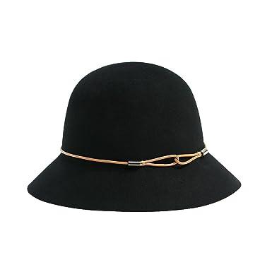 Women s Wide Brim Wool Hat Winter Black Cloche Hat Floppy Hat ... 17e384be626