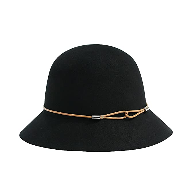 Women s Wide Brim Wool Hat Winter Black Cloche Hat Floppy Hat  Amazon.ca   Clothing   Accessories d39c3ae2b0a