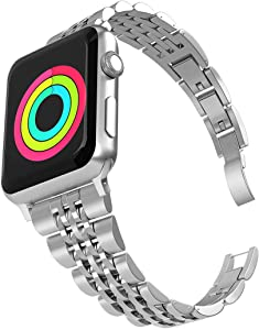 Aizilasa Band Compatible with Apple Watch Band 38mm 40mm/iWatch Bands 38mm 40mm SE/Series 6 5 4 3 2 1, Womens Men Stainless Steel Bracelet Adjustable Metal Strap Wristbands (Silver-38mm/40mm)