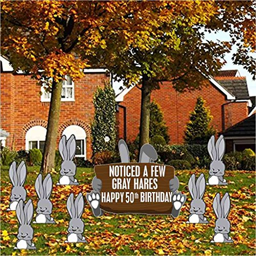 Birthday Yard Cards –Noticed A Few Gray Hares Happy 50th Birthday