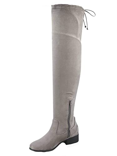 050277957437 FZ-Yah-s Women s Fashion Round Toe Thigh High Low Heel Zipper Riding Boots