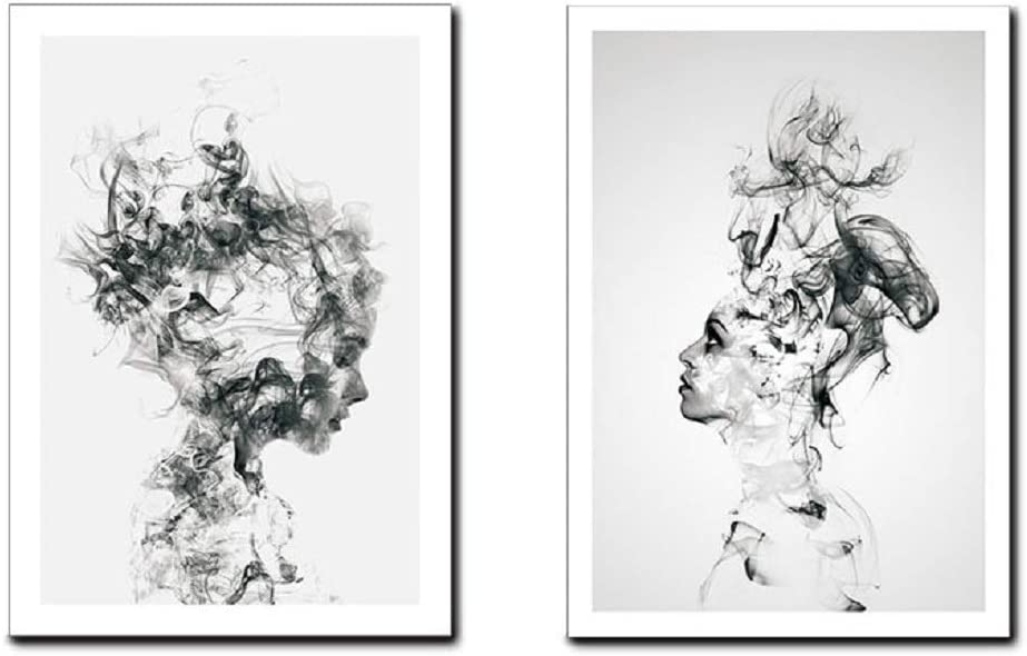 AEVIO Abstract Smoke Girls Wall Art Canvas Print Poster Black and White Photography Art Line Drawing Decor for Living Room Bedroom (Set of 2 Unframed, 12x16 inches)