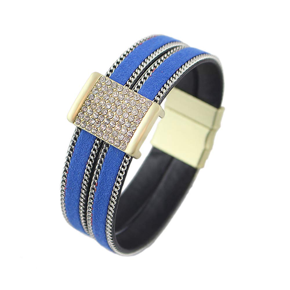 FEELONTOP Bohemian Style Red Blue Colors Wide Wrap Magnetic Bangle Bracelet with Jewelry Pouch