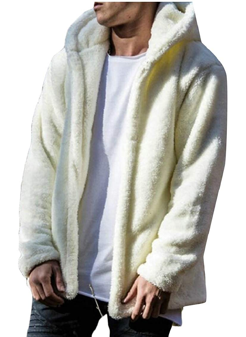 maweisong Men's Winter Jacket Faux Fur Coat Hooded Overcoat Thick Outerwear