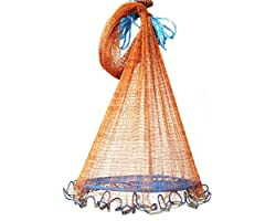 Shallho Saltwater Fishing Cast Net with Flying Disc & Real Lead Sinkers, 12FT Radius Size Heavy Duty Throw Net for Bait Trap