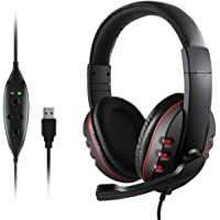 USB Wired Gaming Headsets, JAMSWALL Gaming Headphones with Noise-canceling Mic Volume Control, Over-Head Stereo Headphone, for PS3 PS4 Tablet Laptop PC Computer Gamers (Black)