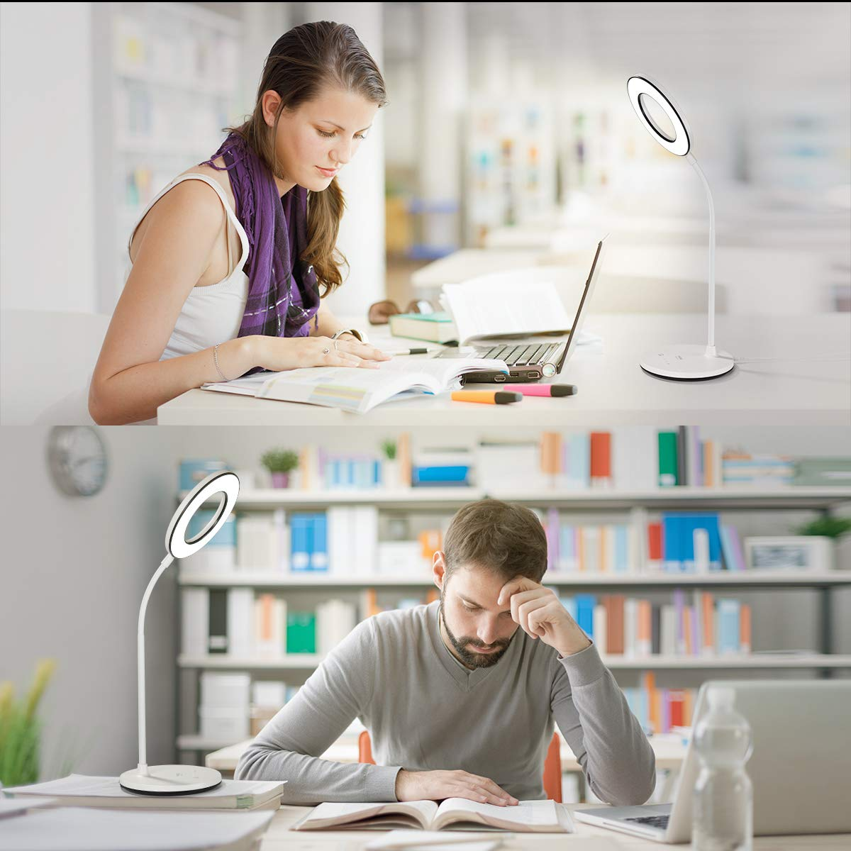 Miady LED Desk Lamp - Best LED Desk Lamp with Gooseneck, Bulb, Touch Color Sensitive, Round Design, 3 Color Moder, 4 Level Brightness