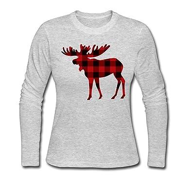 Camiseta de algodón de Manga Larga Buffalo Plaid Moose 2 Comfortsoft para Mujer: Amazon.es: Ropa y accesorios