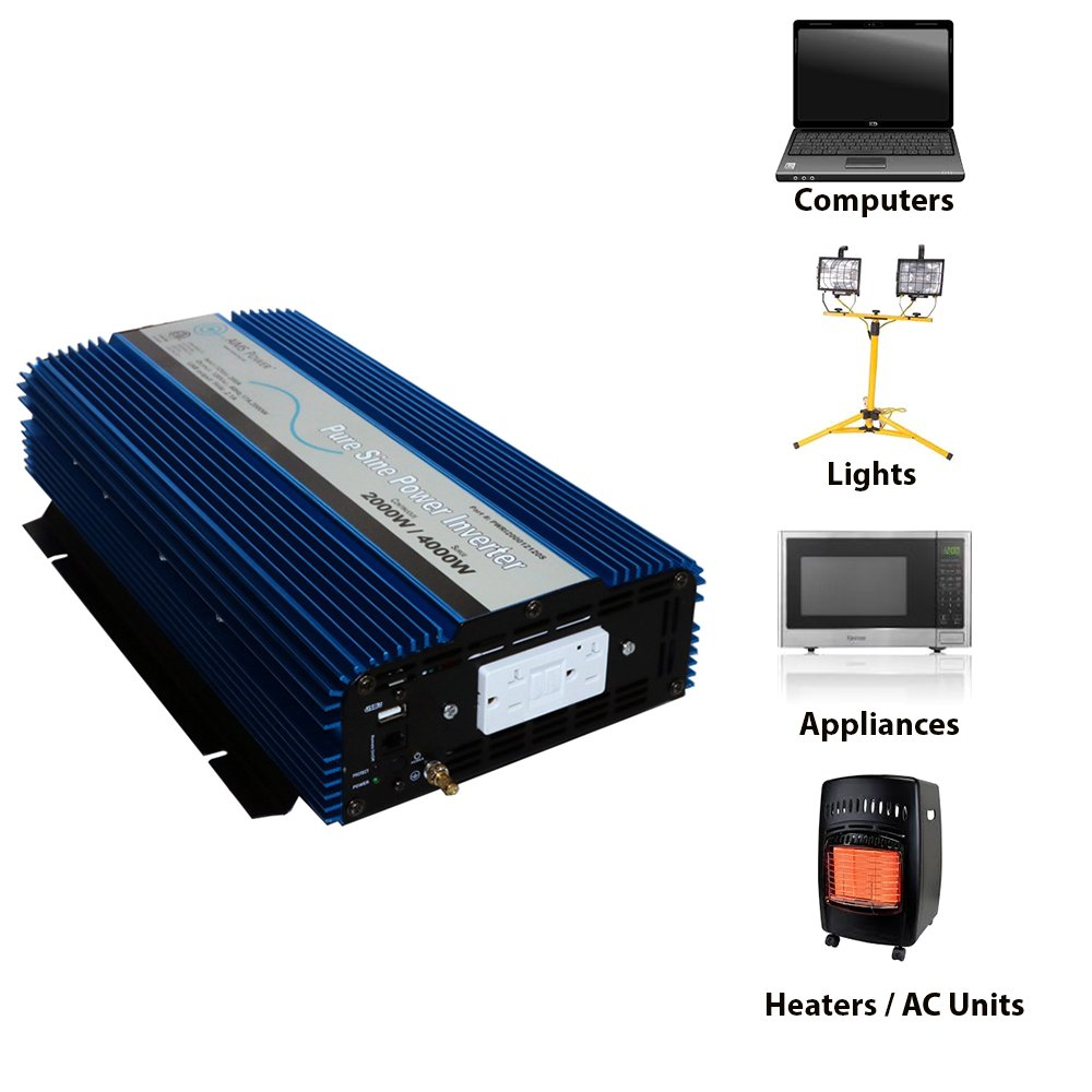 Aims Power Pwri200012120s 2000w Pure Sine Wave Inverter How To Build A100 Watt Circuit Homemade 2000 Continuous 4000 Surge Peak 12 Volt Dc Input