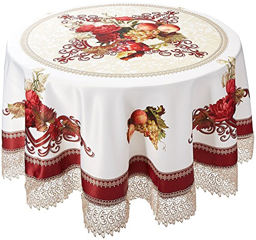 Burgundy Elegance Round Tablecloth - Violet Linen Decorative Printed Fruttela Tablecloth With Lace Trimming, Burgundy, 70