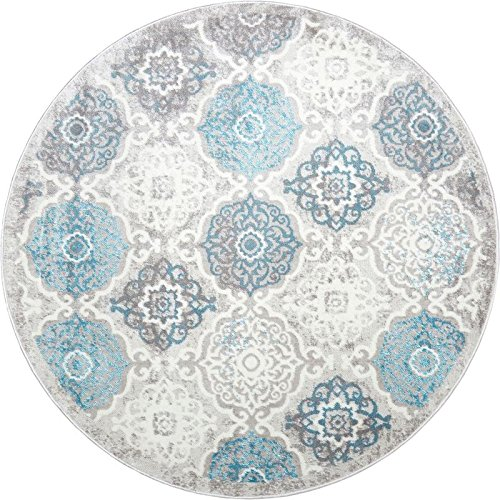 Home Dynamix Boho Andorra Area Rug  Modern Style with All-Over Print   Soft Distressted Texture   Neutral Living Room Rug   Gray-Blue, Ivory 7'10